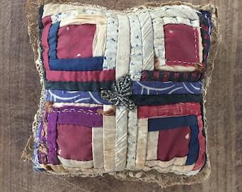 Antique handmade embroidered pincushion
