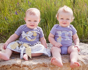 Swanky Baby Twin Hand Dyed Grey Initial Bodysuit  (Choose your own Initial and Gender)