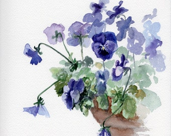 Violets, original painting, spring flowers viola, mother's day gift, gift for her, gift for grandmother, gift for teacher