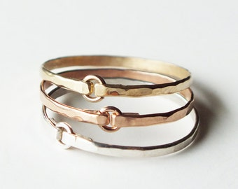 Three Hammered Mixed Metal Tiny Circle Rings - Gold Rings - Stacking Rings - Trio Rings