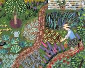Monk's House Garden - Greeting Card - Leonard Woolf - Bloomsbury - Naive Art - Fine Art Card - Virginia Woolf - Flowers - Gardening