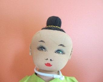 Bangkok Dolls Cloth Doll with Topknot Handmade Thailand 1970s