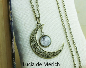 Crescent Moon Necklace,Galaxy necklace, Cosmic Universe jewelry
