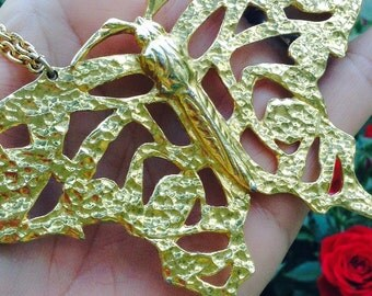 Huge Butterfly Necklace, gold tone metal, statement jewelry, retro necklace, original 70's, layaway available, egst, Greece