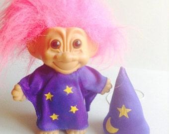 1980's Vintage Russ brand Wizard Troll Doll, hot pink hair, purple dress, stars & moon, egst, Greece