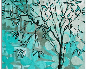 Eclectic Bird Tree Art 'Bird Haven' Contemporary Wall Decor Giclee on Metal, Turquoise Abstract Landscape Trees Artwork by Megan Duncanson