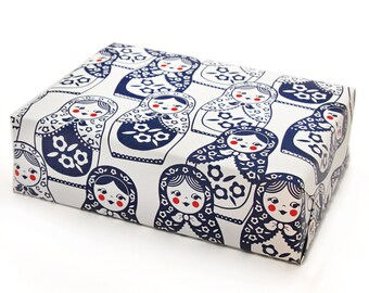 Gift Wrap with Matryoshka Dolls in Navy and Red - Russian Stacking Dolls - Christmas Wrapping Paper