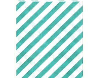 Mint Stripe Middy Treat Bags, 25 Pack, Teal