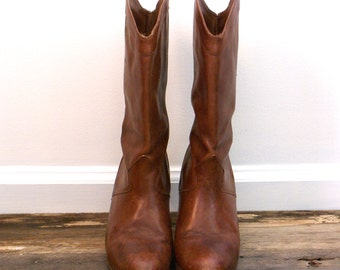 Vintage 9 West Brown Leather Cowboy Boots Size 6.5 6 1/2