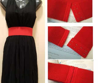 """Waist Cincher, Cinch Belt, Waist Cinch Belt  3"""" wide, with hook and eye closure, plus size belt available, Custom Made Color RED"""