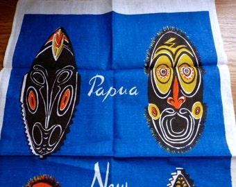 Vintage New Guinea Tea Towel With Masks Mint Unused Condition
