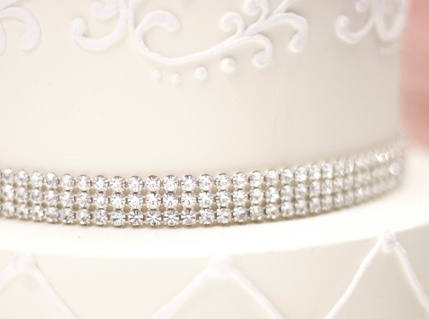 Sparkle REAL Silver or Gold Rhinestone wedding Cake