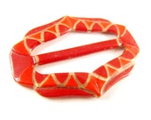 Celluloid Sash Buckle Red Gold Deco Design Signed Czechoslovakia Early Plastic