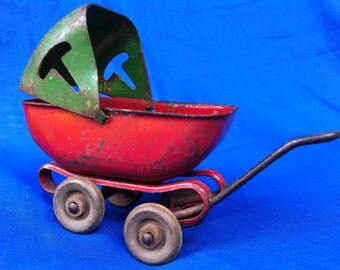 Vintage Metal Doll Buggy