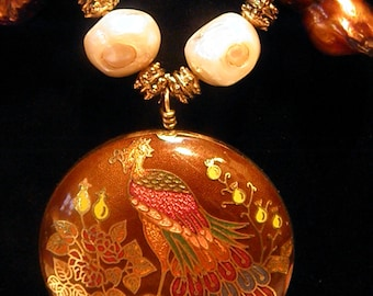 Natural cultured freshwater pearls with Beautiful Peacock Pendant