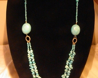 Beautiful BlueTurquoise Two Strand Necklace