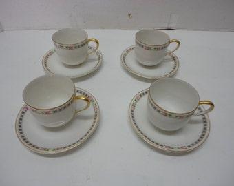 "Set of 4 Demitasse or Espresso Cups & Saucers Noritake ""M"" Nippon Gold Rim Pink Rose and Blue X Pattern"