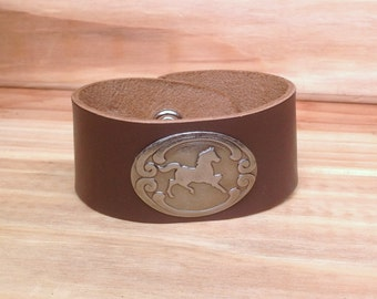 Leather Cuff with Silver Horse Concho, Gift for Her, Gift for Him, Equestrian, Cowgirl, Cowboy, Western