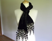 Black Velvet Scarf with Black Lace, Crushed Velvet Victorian Scarf, Long Black Gothic Mourning Velvet Scarf with High Quality Black Lace