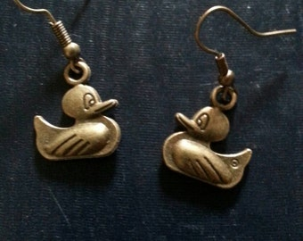 Bronze Rubber Ducky Earrings