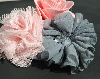 Vintage Pink and Grey Floral Headband