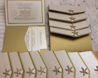Destination Beach Wedding Tropical Crystal Starfish Embellishment Custom Made Invitations Set of 20