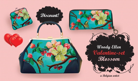 retro handbag set, vintage handbag set, Blossom, christmas, gifts, gifts for her, Woody Ellen handbag, christmas gifts, christmas gift ideas