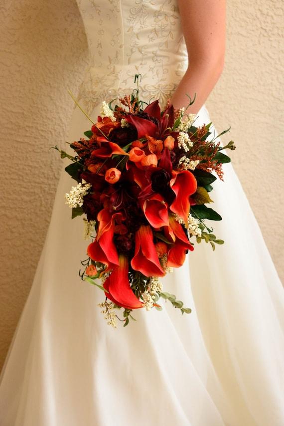 Fall Wedding Bouquets Bridesmaids : Celtic bride cascade fall wedding bouquet and bridesmaid