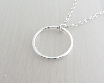 "Sterling Silver Circle Necklace, Single Ring Necklace, Eternity Ring Pendant, Infinity Circle Pendant, 3/4"" Ring Necklace, 20mm Circle Ring"
