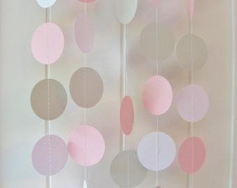 Pink White & Grey Circle Garland 10ft Long - Wedding Decoration,Birthday Decoration, Baby Shower Garland, Nursery Garland