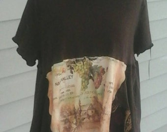 Napa  Valley  chardonnay  upcycled  mori girl  lagenlook  tunic junk gypsy  economic friendly    plus size  29.99