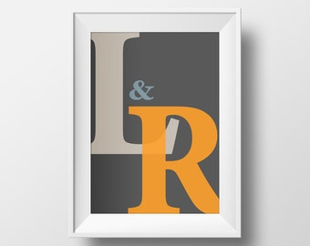 Engagement, Wedding or Anniversary Typography gift. The couples initials.