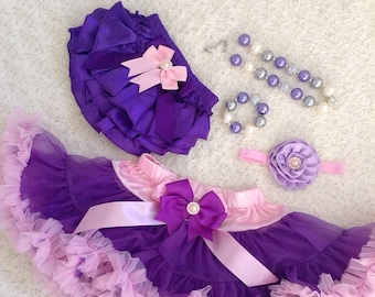 2-pc set Girls birthday, photo prop outfit-Include Deluxe super fluffy purple and a pink ruffle skirt, matching headband
