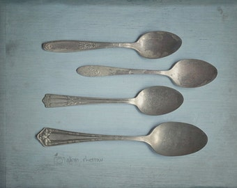 Spoon Art, Rustic Photography, Farmhouse Kitchen Art, Country Decor, Wall Art Print | 'Spoons'