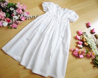 Cotton christening gown pastel lace ribbon, 100% cotton, varioussizes