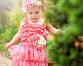 Coral Flower Girl Dress Headband Sash Set..birthday outfit..Coral tutu dress.Coral.newborn coming Home Lace Dress..fairy tutu dress