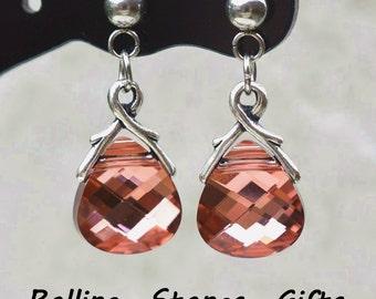 Light Rose Rosaline, Swarovski, Briolette Dangle, Rhinestone Earrings, Drop Crystal Studs, Swarovski Dangle, Post Dangle, Briolette Earrings