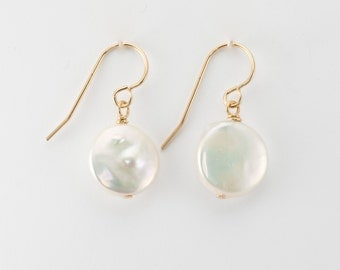 Pearl Earrings/ Wedding/ Dainty/ Gold/ Everyday/ Dangle/ Simple/ gemstone