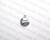 8 Antique Silver Baseball or Softball Ball Charms Sports Pendants