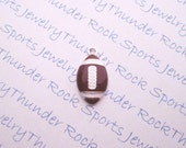 Antique Silver Plated Football Brown Enamel Ball Charms Sports Pendants