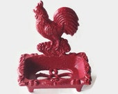 Red Rooster Soap Dish. Chicken Business Card Holder. French Country Kitchen Decor. Farmhouse Rooster Decor. Vintage Style Kitchen Sink Decor