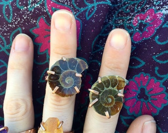 OOAK Copper Prong set raw natural AMMONITE ring - ready to ship