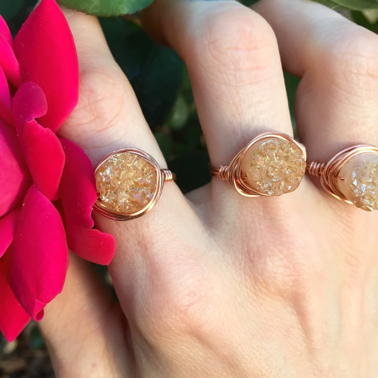 peach aura druzy wire wrapped ring any color