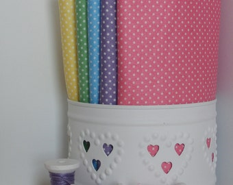 Tiny white dots/spots / Pink Lilac Blue Green Yellow / Makower patchwork quilting fabric / fat quarter
