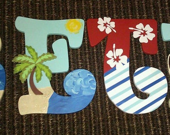 Surfing Baby Nursery Decor, Surfing Baby Nursery, Surfing Wooden Letters, Surf Baby Nursery Decor, Wooden Letters, Surf Nursery Decor,