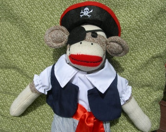 YO HO HO! Pirate/Buccaneer Brown Sock Monkey Doll
