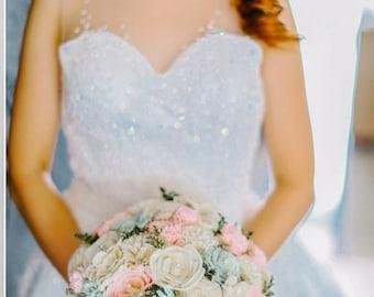Wedding Bouquet, Sola wood Bouquet,  Aqua and pink Wedding Bouquet, Alternative Bouquet, Bridal Bouquet, Sola flowers, Wood Bouquet