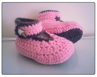Hand crochet pink baby girl booties, boots, slippers, shoes