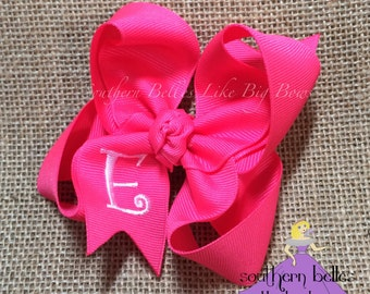 Hot Pink Bow with Initial Letter, Personalized Hot Pink Hair Bow, Personalized Gift for Girl, Stocking Stuffer, Big Pink Boutique Bow,