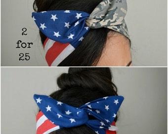 USMC Headband - USMC Girlfriend - Marine Headband - Hair Bows - Flag Headband - Dollybow Headband - Desert headband
